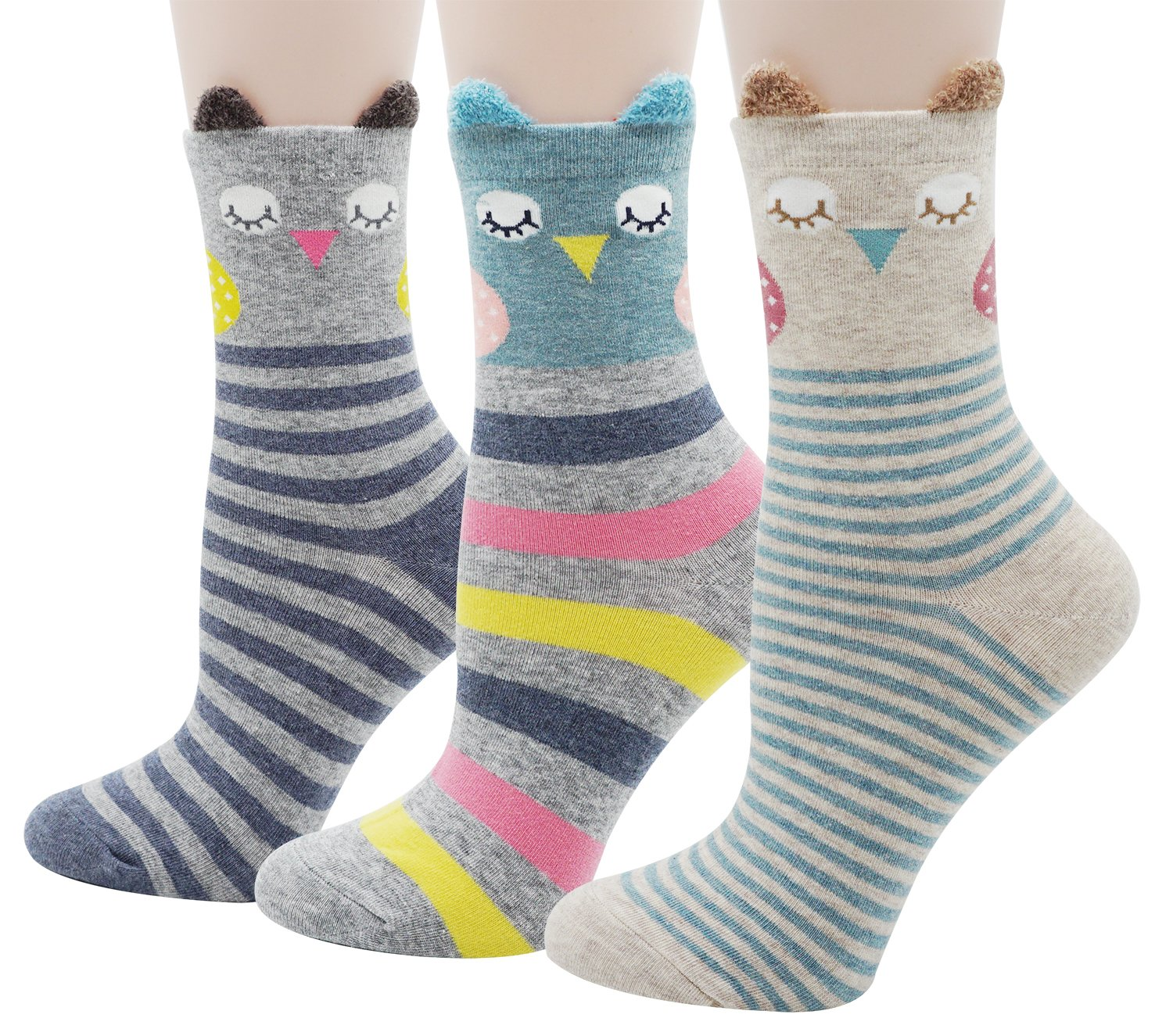 Bienvenu Cute Owl Socks 3 Pack Cotton Socks Multi Color_style 2 One Size