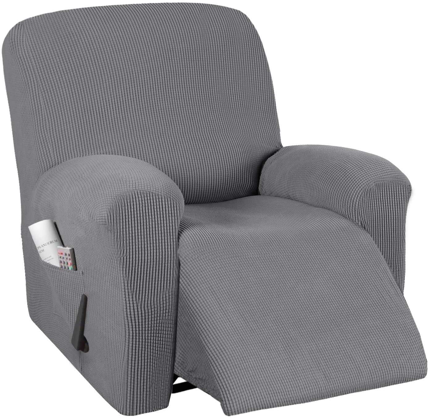 Stretch Recliner Cover Recliner Chair Covers for Leather / Living Room Recliner Chair Slipcover with Side Pocket, Thick Soft Small Checked Jacquard, Fitted Standard / Oversized 24