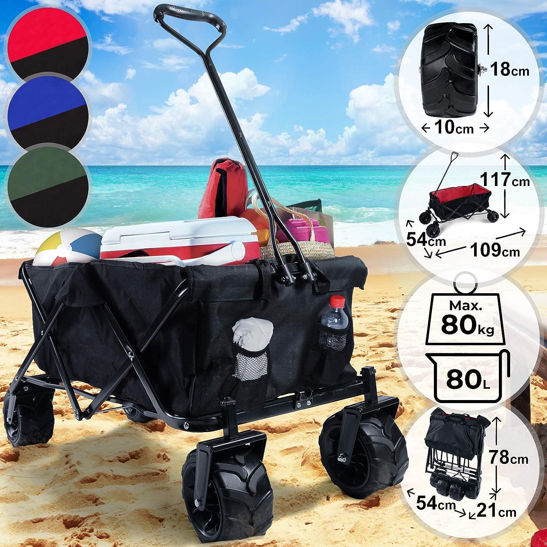 Carrito de Jardin Plegable | con Ruedas, para Playa Acampada Picnic Camping Exteriores, 117x54x109cm, Máx. 80kg, Color a Elegir | Carro Jardinería, ...