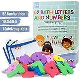 Jouets de bain Booga Baby - Ensemble de lettres de baignade comprennent 62 lettres et chiffres avec Organisateur de jouet de bain de haute qualité - Jouet de bain idéal pour enfants