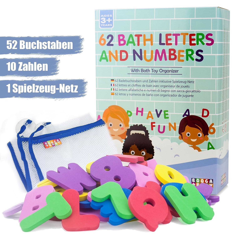 BOOGA BABY Badebuchstaben-Set bestehend aus 2 Alphabeten (um z.B. MAMA schreiben zu können) und 10 Zahlen | Mit hochwertigem Badespielzeug-Organizer | Badespielzeug | Ideales Badewannen-Spielzeug ahoi lab