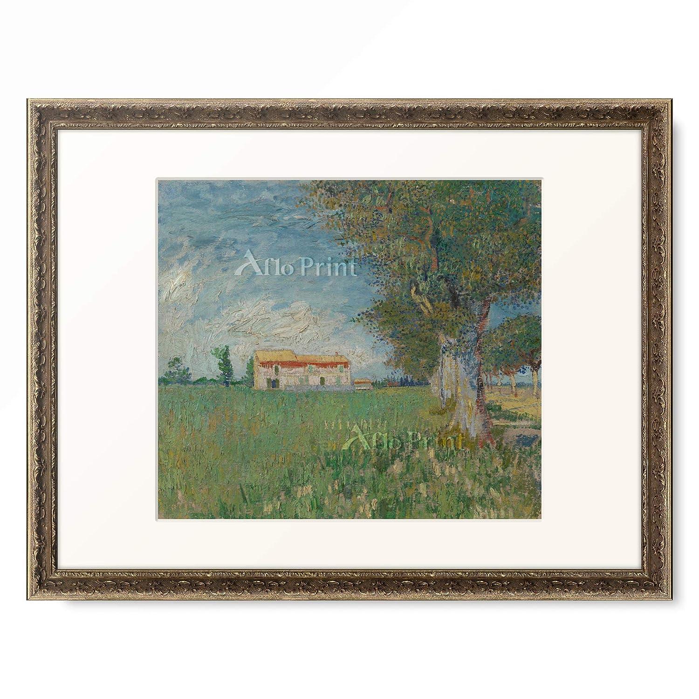 フィンセントファンゴッホ Vincent Willem van Gogh 「Farmhouse in a wheatfield」 額装アート作品 B07PHJCTBR 09.装飾額 19mm(黒金) S(額内寸 255mm×203mm) S(額内寸 255mm×203mm)|09.装飾額 19mm(黒金)