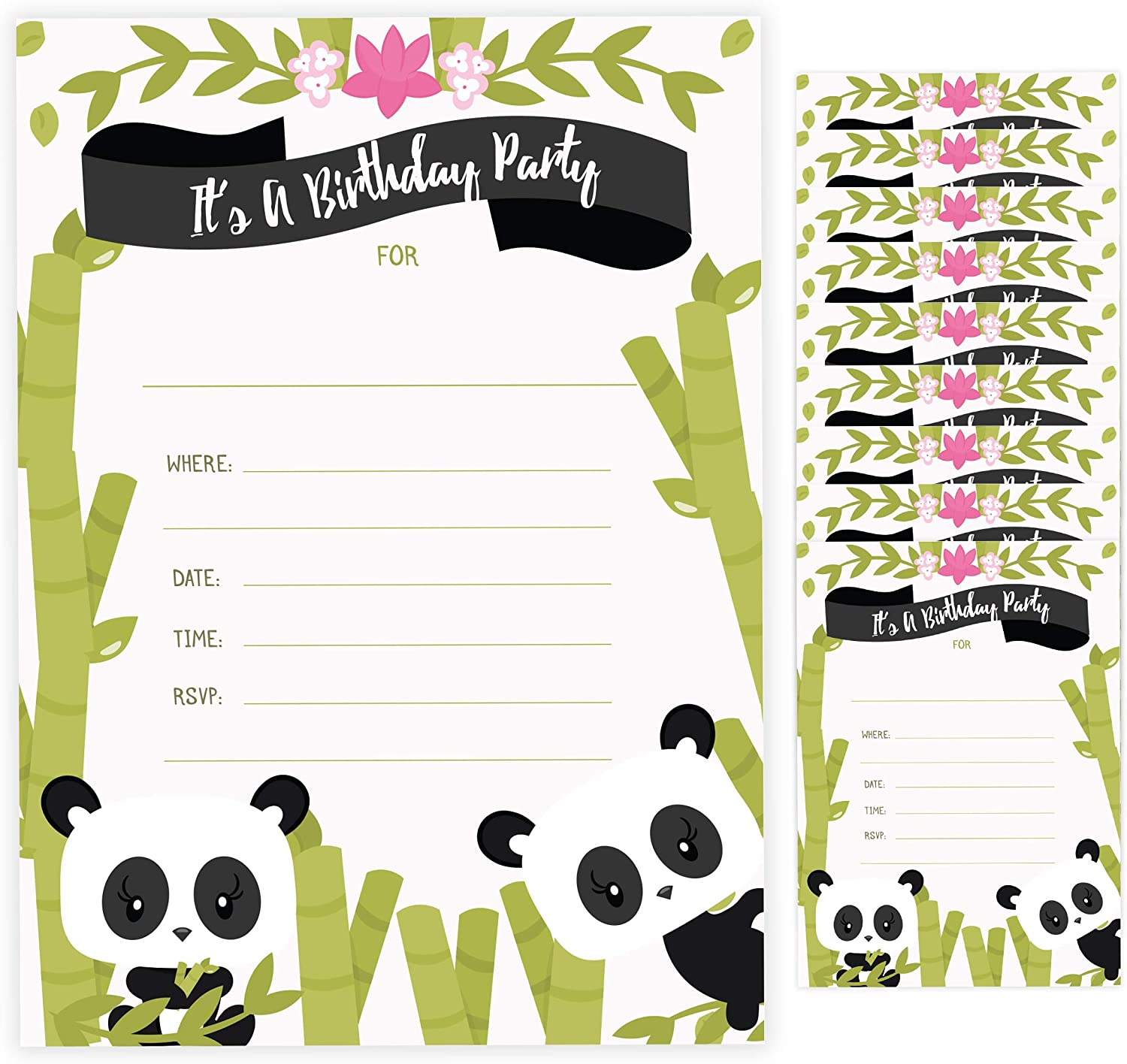 Panda Happy Birthday Invitations Invite Cards With Envelopes Boys Girls Kids Party 10ct 10 Count