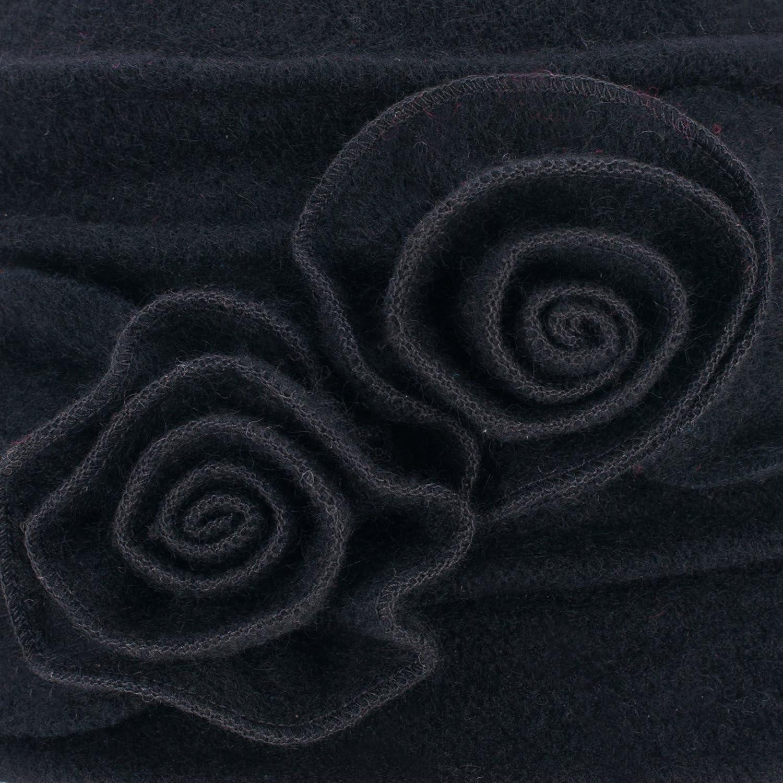 Lawliet Eleganter Vintage-Glockenhut aus Wolle f/ür Damen Warme Kopfbedeckung f/ür den Winter.