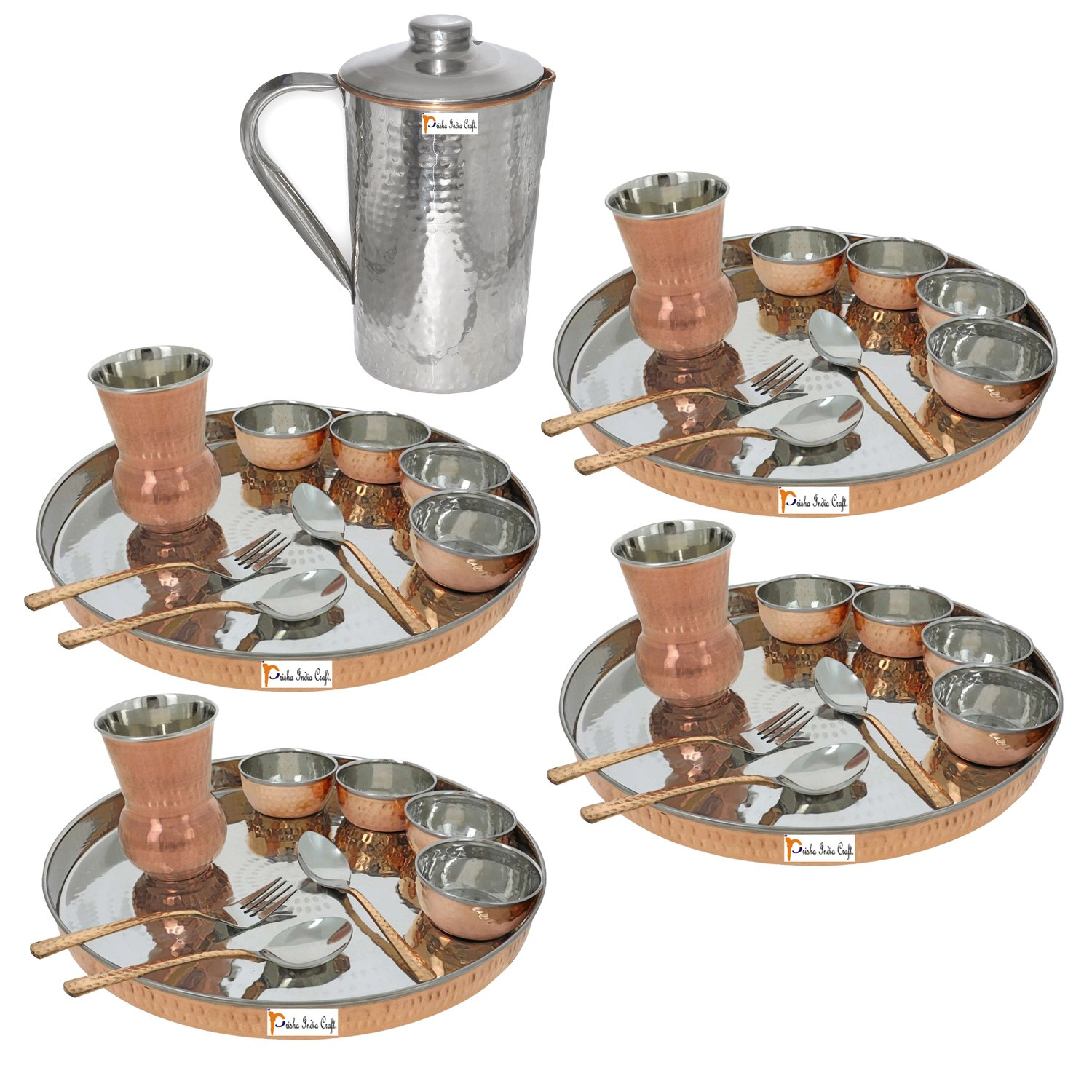 Prisha India Craft ® Set of 4 Traditional Stainless Steel Copper Dinner Set of Thali Plate, Bowls, Glass and Spoons, Dia 13'' With 1 Stainless Steel Copper Hammered Pitcher Jug - Christmas Gift