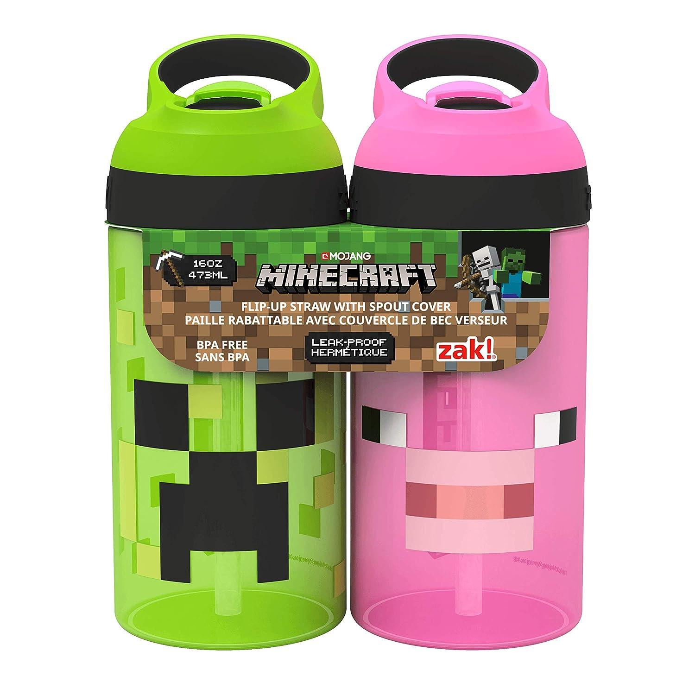 Zak Designs MICB T470 Minecraft Water Bottles 16 oz Creeper Pig
