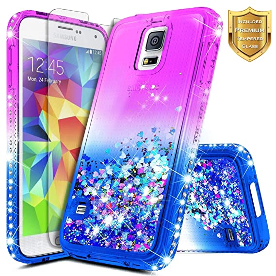 c4d6ffc29ee Amazon.com  Galaxy S5 Case w  Tempered Glass Screen Protector ...