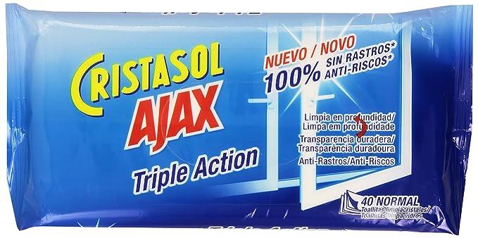 Ajax Cristasol Toallitas Limpiacristales - 40 toallitas (Paquete de 2)