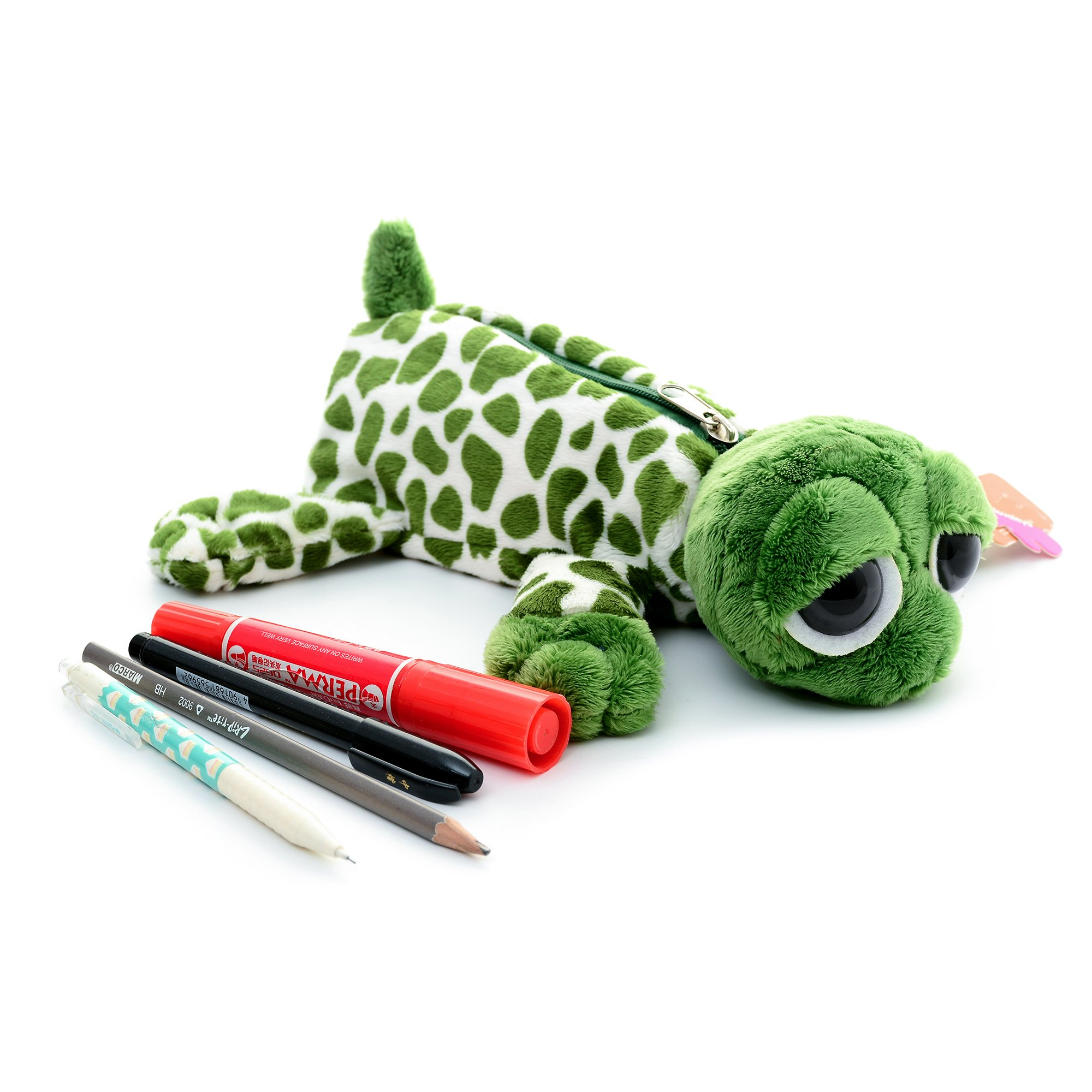 Cartoon Animal Plush School Pencil Bag Pen Case Comestic Makeup Pouch 11'' (turtle) by Gloveleya (Image #1)