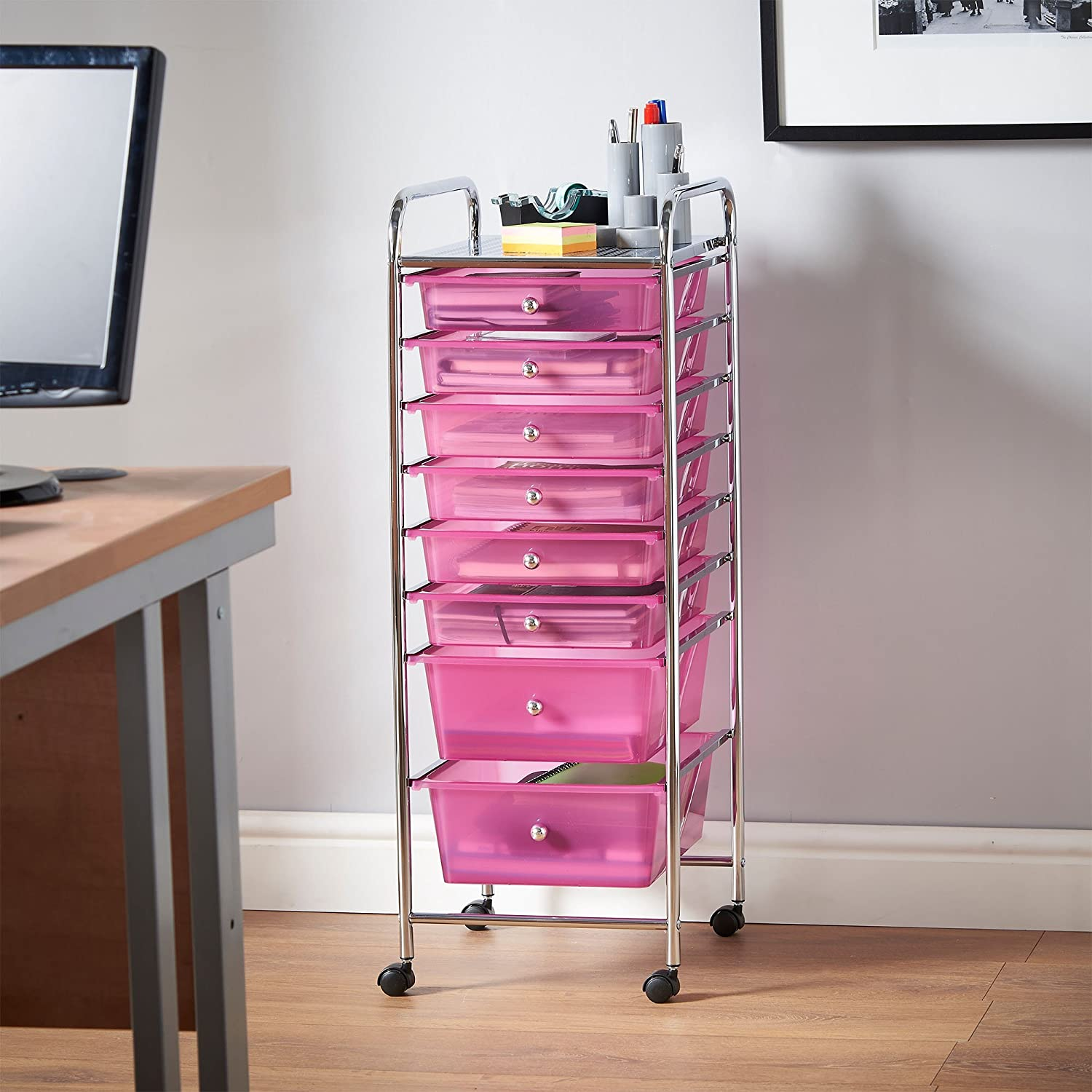 Uncategorized Pink Storage Cart amazon com vonhaus 8 drawer pink rolling cart organizer utility for home office and beauty storage kitchen