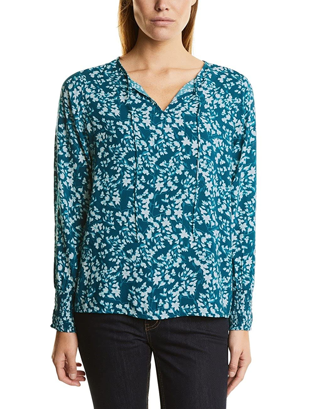 TALLA 42 (Talla Del Fabricante: 40). Street One Flower-Print Blouse Smok-Cuff, Blusa para Mujer