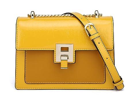 DEERWORD Para mujer Carteras de mano Bolsos bandolera Bolsos bolera Bolsos maletín Cuero Amarillo