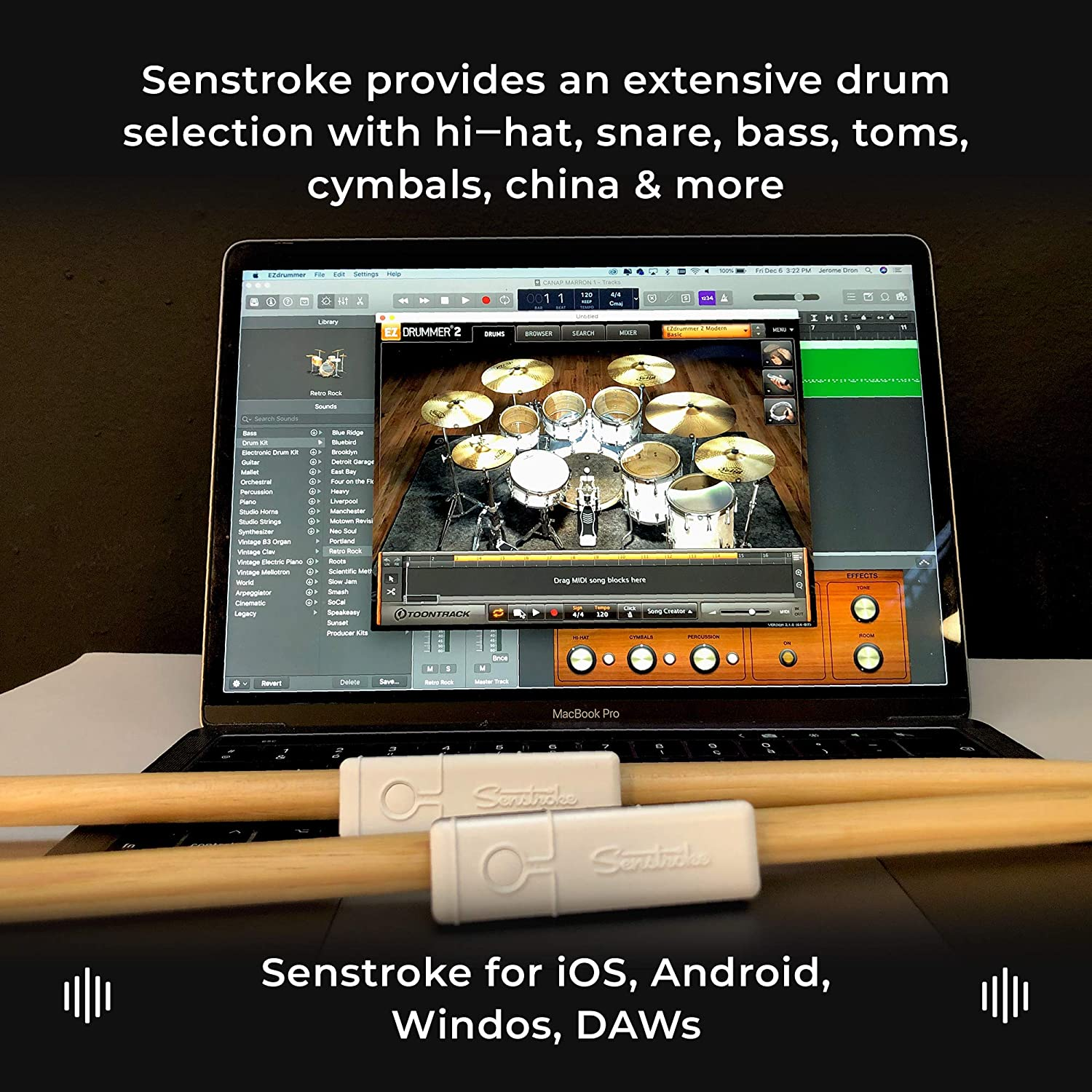 Senstroke by Redison Bluetooth Drum Kit App Drumsticks Ultimate Box Quiet Portable Practice with 1 Pad Multiple Sensors /& Protective Travel Case