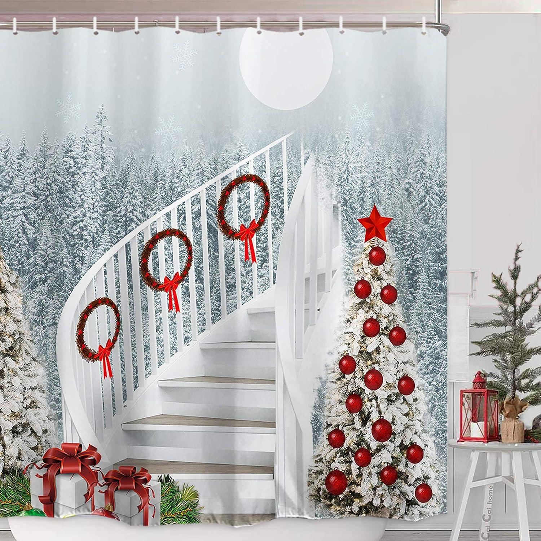 Multicolor Christmas Tree Snowflake Shower Curtain Hook /& Bath Mats Bathroom Set