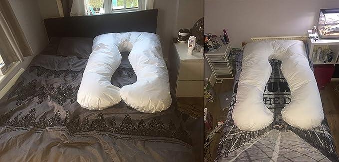 Sanggol Almohada con Forma de U, Almohada de Embarazo para Dormir y Cojin Lactancia Soporte del Cuerpo de la Mama y del bebé con Funda de algodón ...