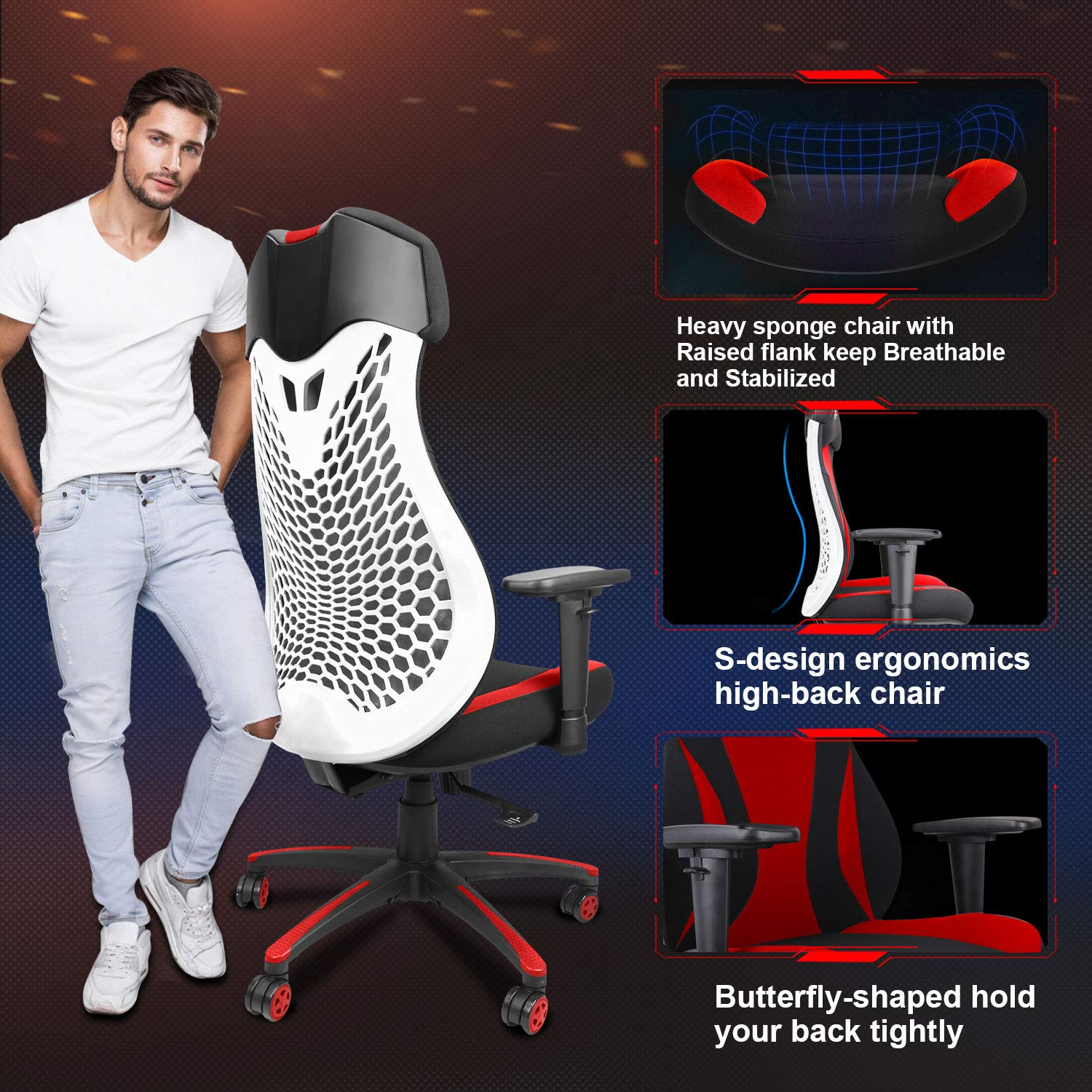 High Back Ergonomic Computer Desk Chairs With Lift Headrest And Handrail Flexible Height And Reclining Device Mesh Gaming Racing Chair Managerial Executive Chairs Chairs Sofas Fcteutonia05 De