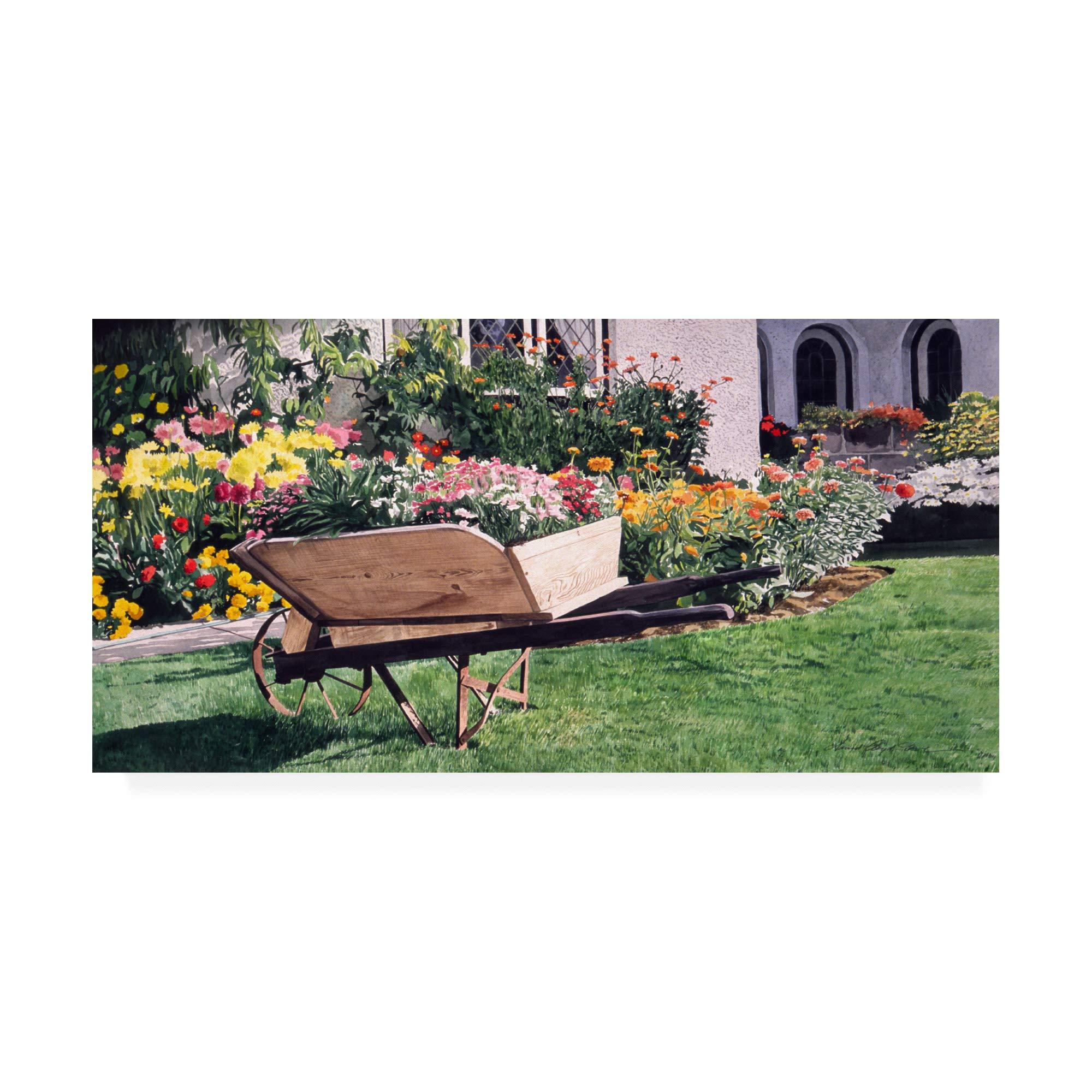Trademark Fine Art The The Gardeners Wheelbarrow by David Lloyd Glover, 12x24, Multiple