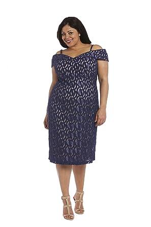 7a54557224177 R M Richards Glitter Cold-Shoulder Sheath Dress at Amazon Women s ...