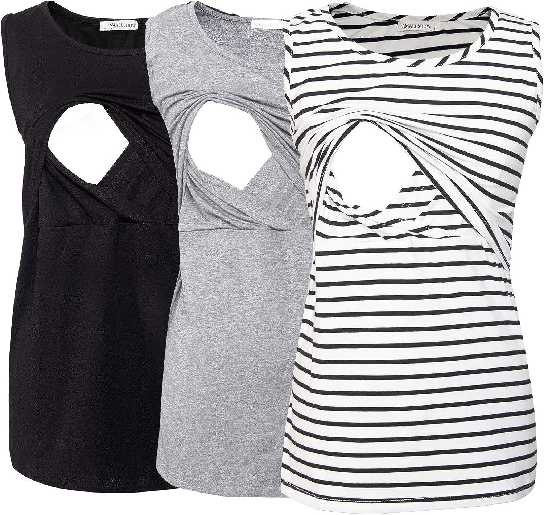 Smallshow Womens Maternity Nursing Tank Tops Stripe Pull-up Breastfeeding Shirt Medium Blue