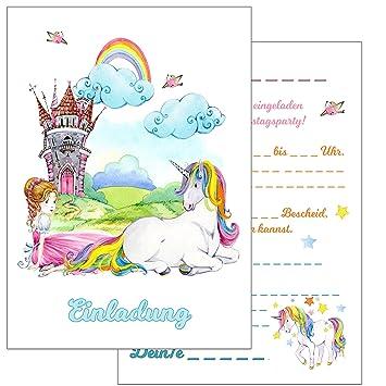 Einladungskarten Kindergeburtstag: 15 Prinzessin Und Einhorn  Geburtstagseinladungen Einladungen Geburtstag Kinder Mädchen (Mit Passenden  Umschlägen