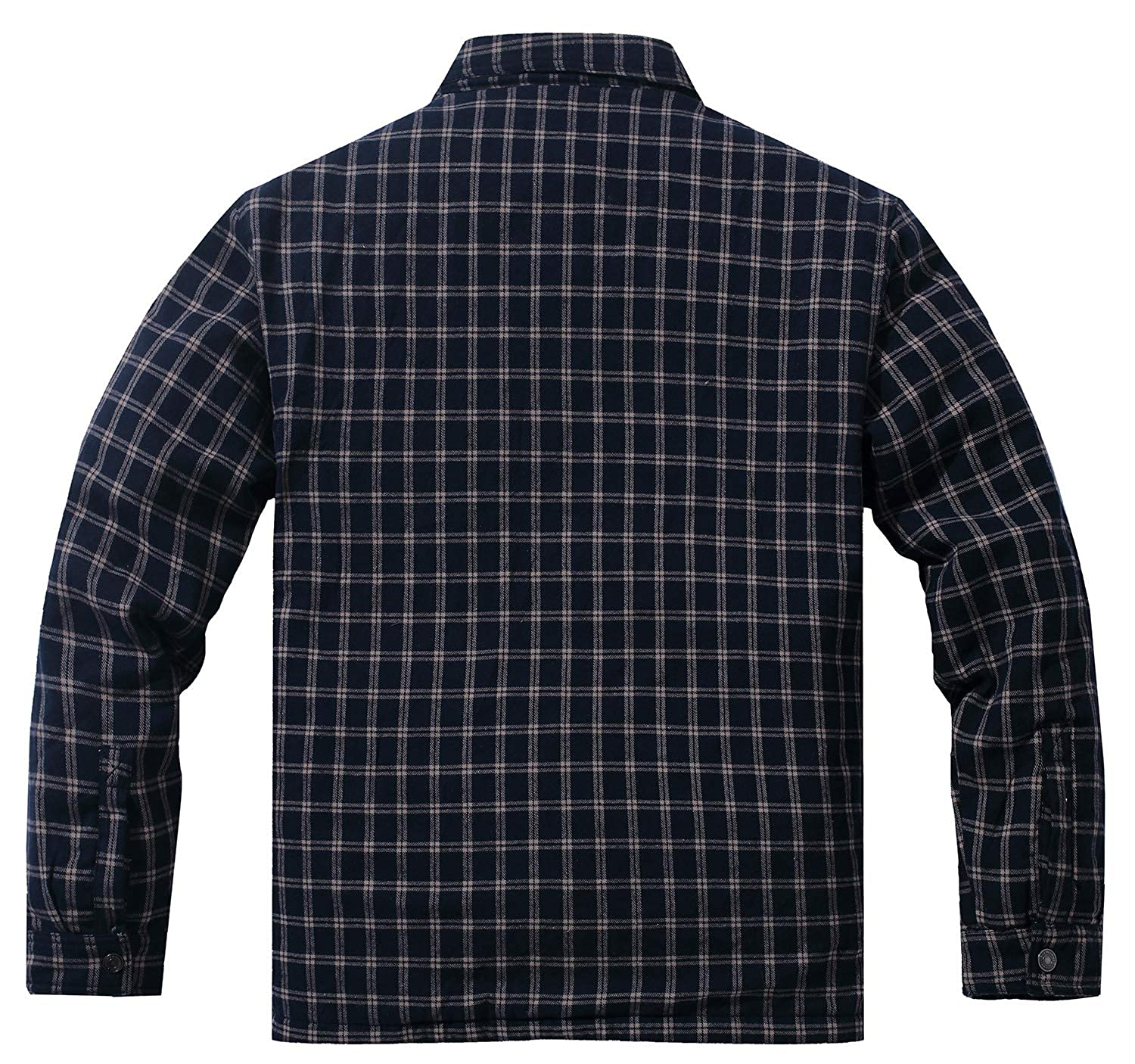 aa9fd4e41e1 WenVen Men s Plaid Flannel Thermal Lined Button Down Shirt Jacket at Amazon  Men s Clothing store