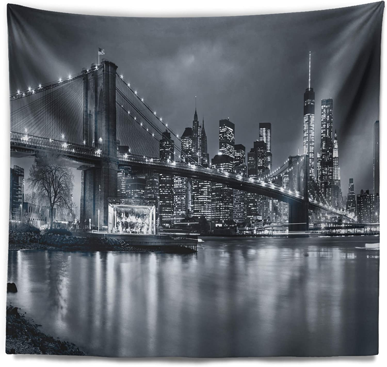 60 in x 50 in Designart TAP9959-60-50  Panorama New York City at Night Cityscape Blanket D/écor Art for Home and Office Wall Tapestry Large Created On Lightweight Polyester Fabric