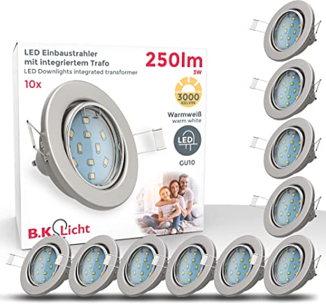 10 x EXTRA flach LED Deckenspot Einbaustrahler downlight Einbauspot Set dimmbar