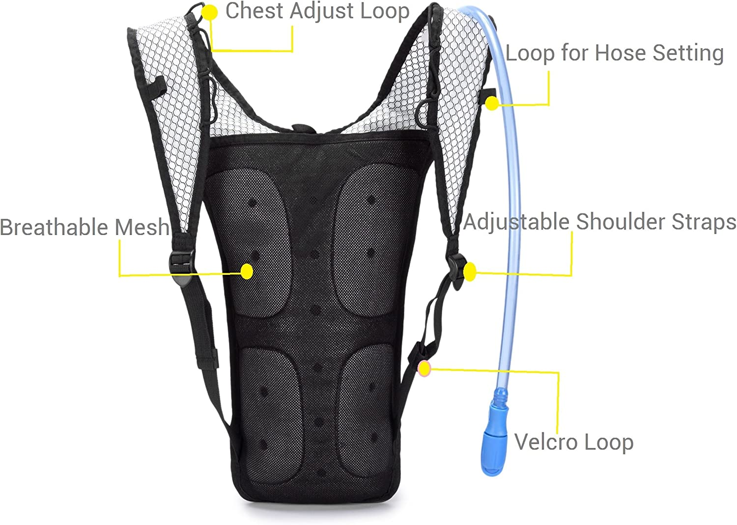 Mubasel Gear Hydration Backpack Pack with 2L BPA Free Bladder - Lightweight Pack Keeps Liquid Cool Up to 4 Hours - Great Storage Compartments - Outdoor Sports Gear for Running Hiking Cycling Skiing : Sports & Outdoors