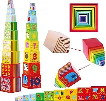 TOWO Caja apilable madera - Cubos apilables del Alfabeto de Madera para Aprender los números, Aprender Colores y Animales - Juguete Educativo 2 años - Juguetes montessori educativos: Amazon.es: Juguetes y juegos
