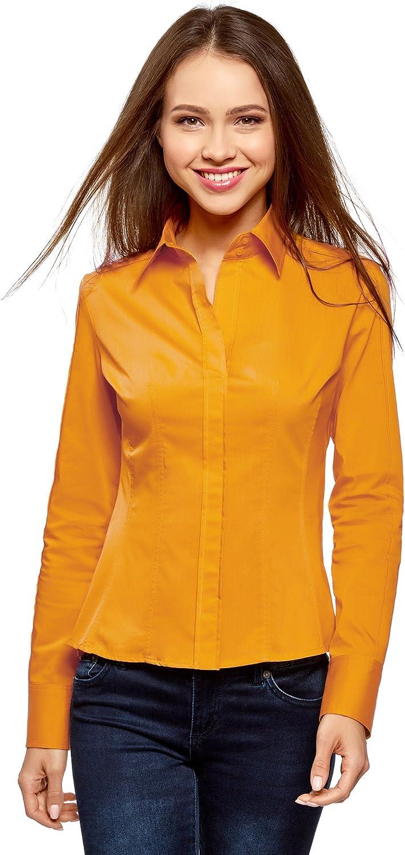 oodji Collection Mujer Camisa de Algodón Entallada con Cierre de Cremalleras, Amarillo, ES 36 / XS: Amazon.es: Ropa y accesorios
