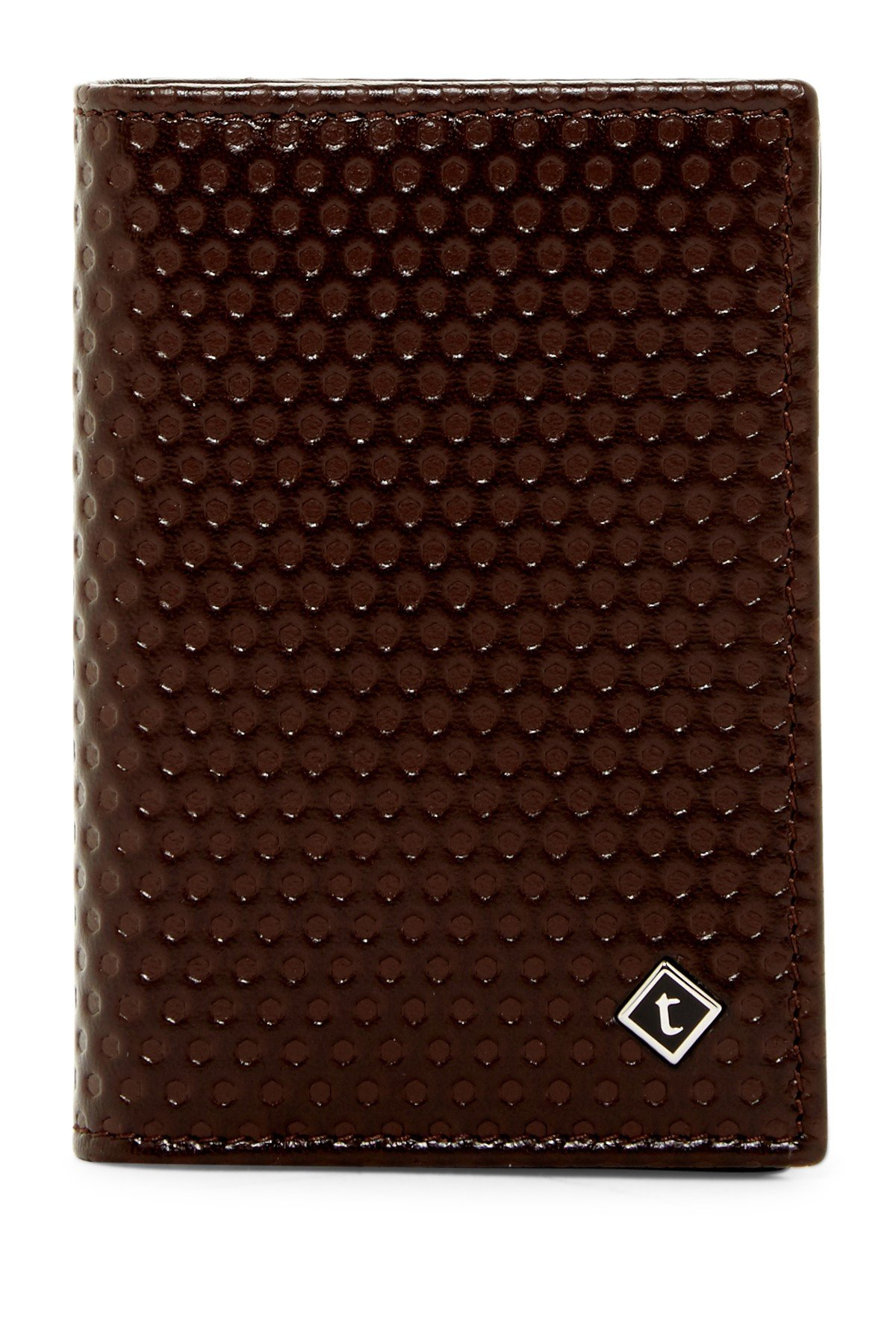 a.testoni Men's Nido Ape Calf Leather Business Card Case Wallet, OS, Moro Dark Brown