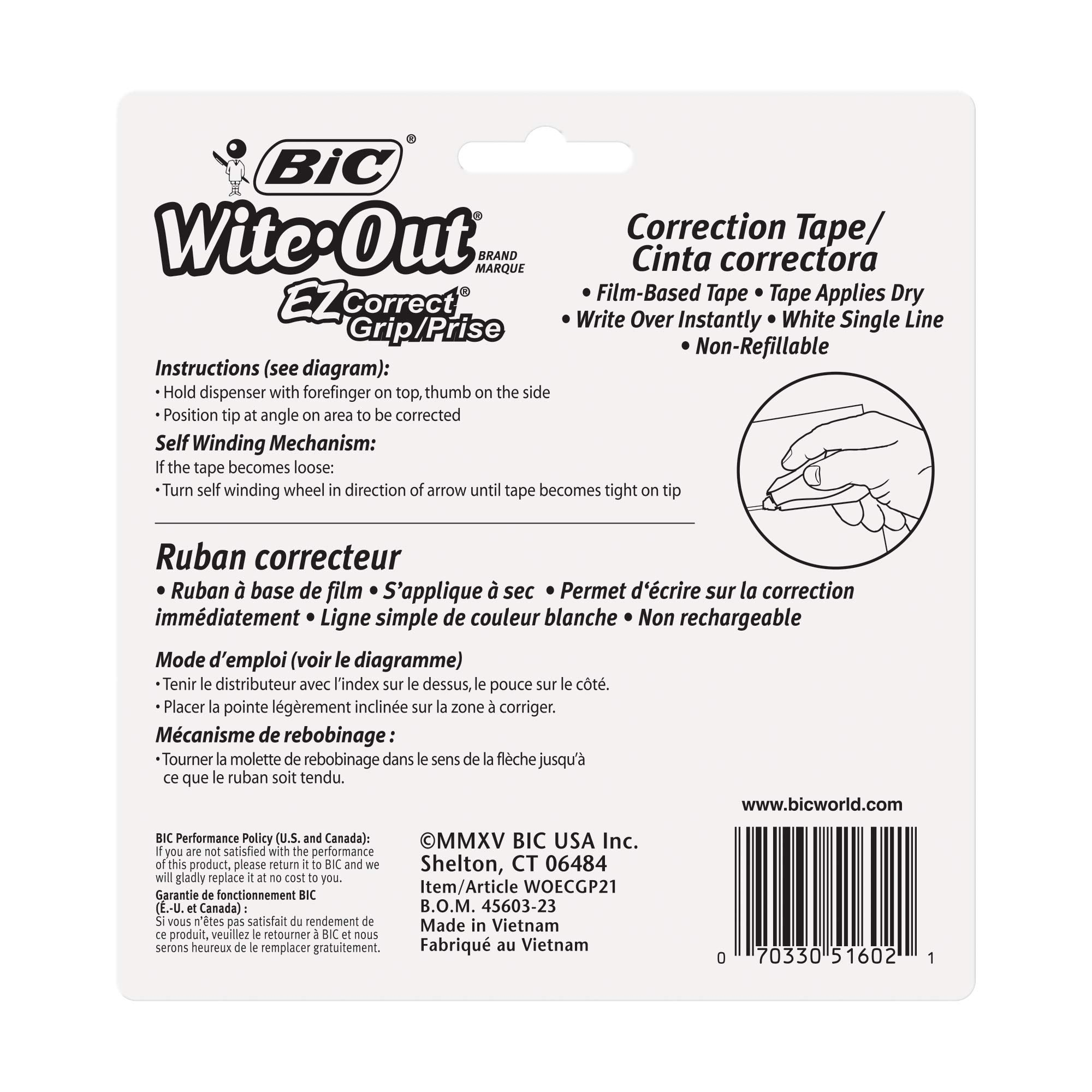 BIC Wite-Out Brand EZ Correct Grip Correction Tape, White, 2-Count by BIC (Image #5)
