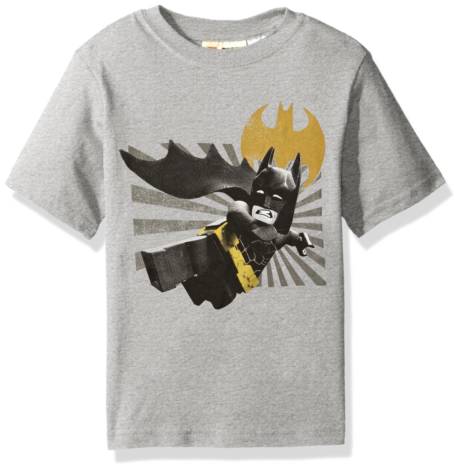 DC Comics Big Boys' Lego Batman T-Shirt, Gray, 14/16