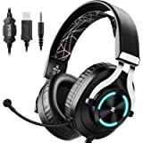 EKSA Gaming Headset - PS4 Headset with Noise Cancelling Mic & RGB Light - Gaming Headphones for PC, PS4/PS5 Controller…