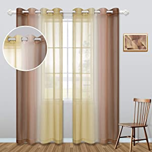 Gold and Brown Curtains for Bedroom Home Decor Set of 2 Panels Fall Autumn Decorations Grommet Window Semi Sheer Farmhouse Neutual Rusitc Ombre Tan Beige Living Room Curtains 52 x 84 Inch Length