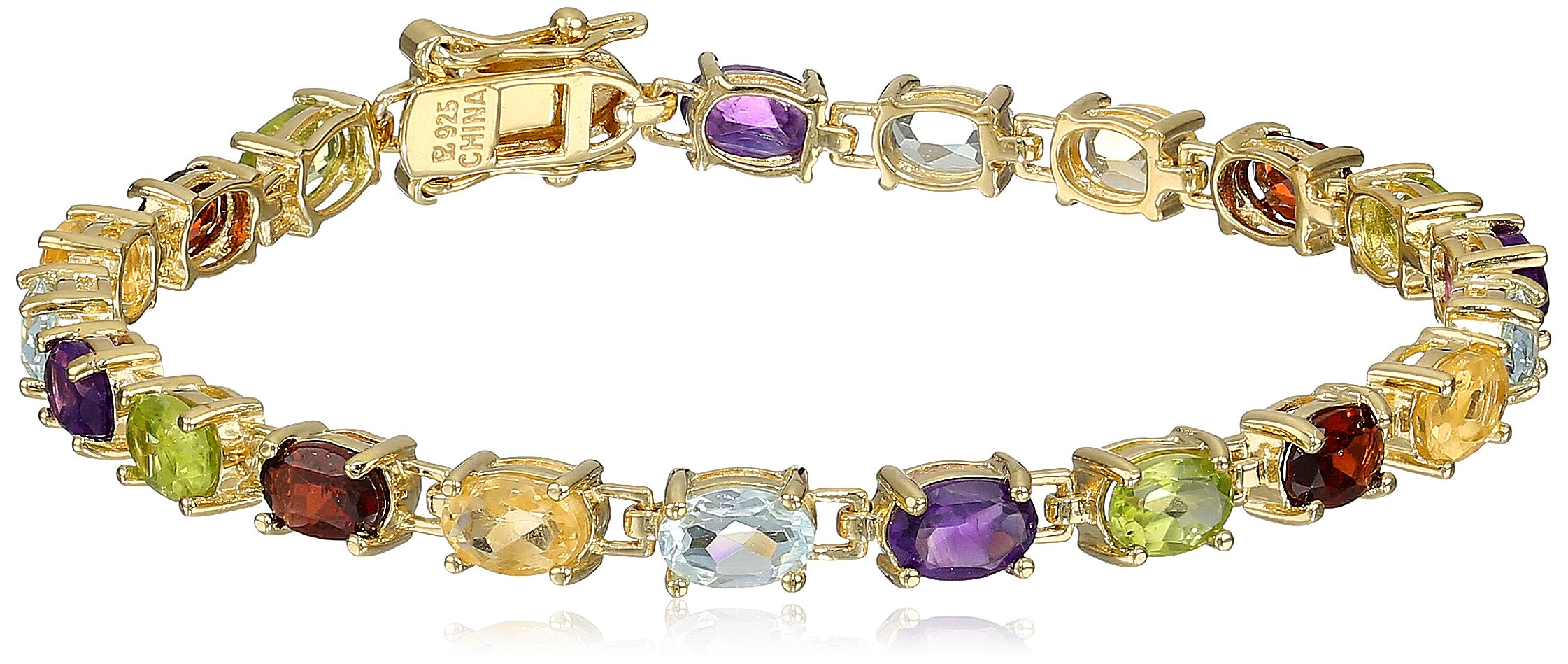 18k Yellow Gold Plated Sterling Silver Genuine Multi Gemstone Tennis Bracelet, 7''