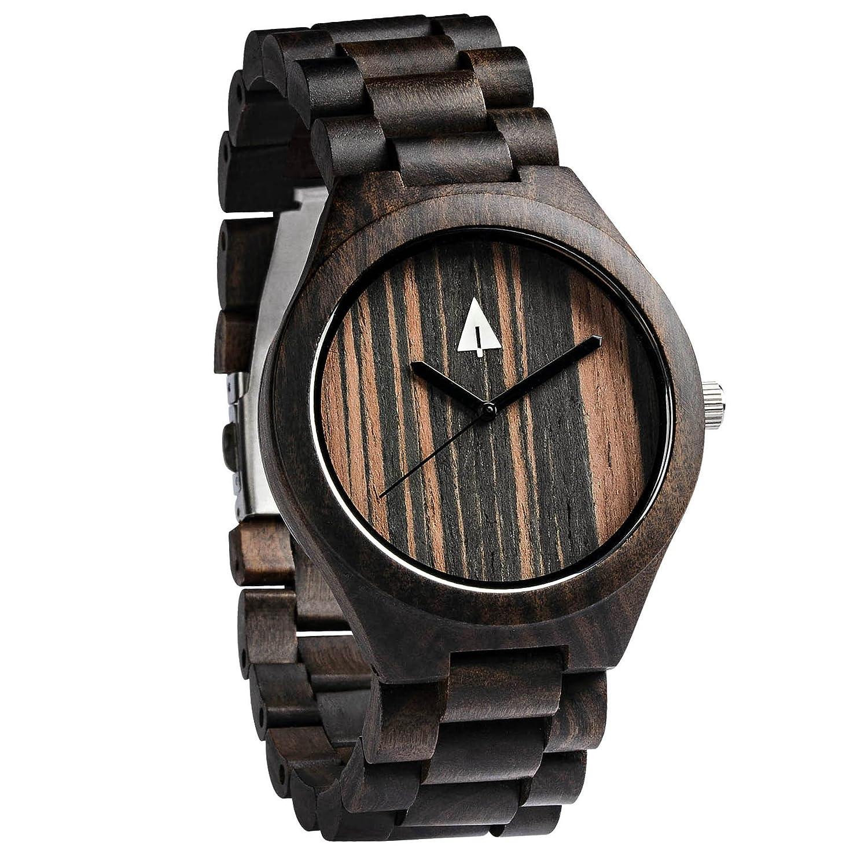 treehut Herren Armbanduhr Ebenholz Schwarz Holz mit allen Holz Band Quarz Analog mit Uhrwerk und Edelstahl Tri-