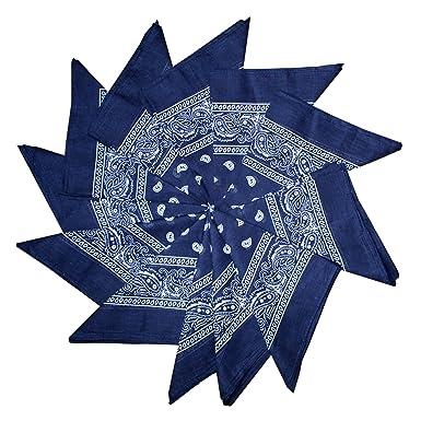461ff7e48032 Ensemble de 12 Bandanas Bleus Style Occidental Imprimé Cachemire par  Kurtzy- Lot de Foulards pour