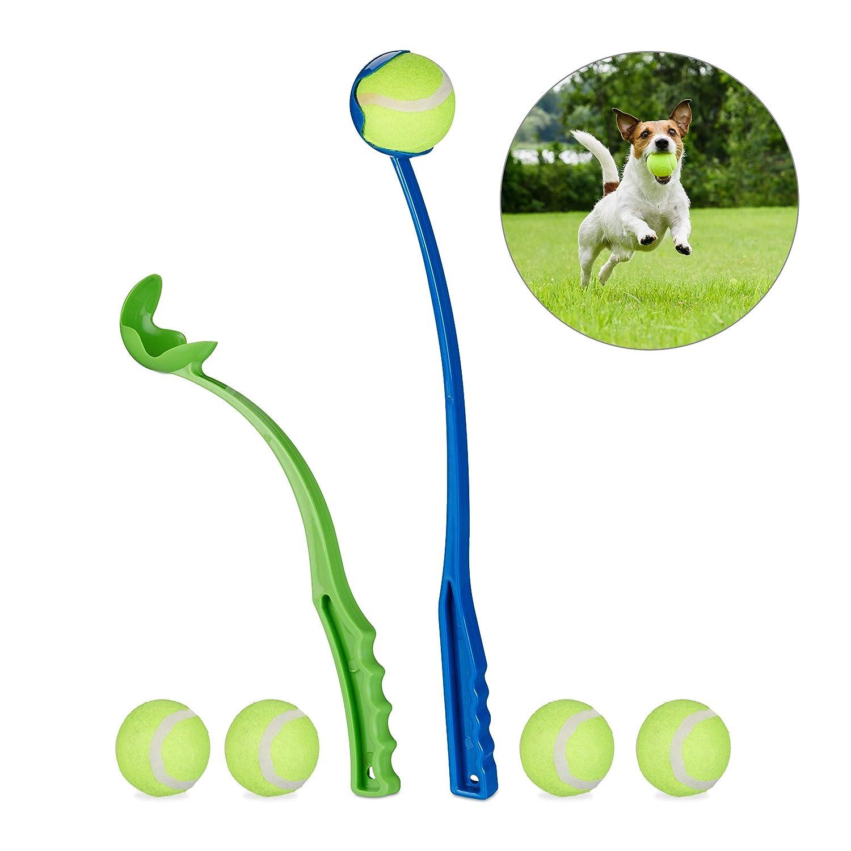 Relaxdays Lanzador Pelotas Perro, Juego de 2 Unidades con 5 Bolas, Juguete Perros, Plástico, Azul y Verde: Amazon.es: Hogar