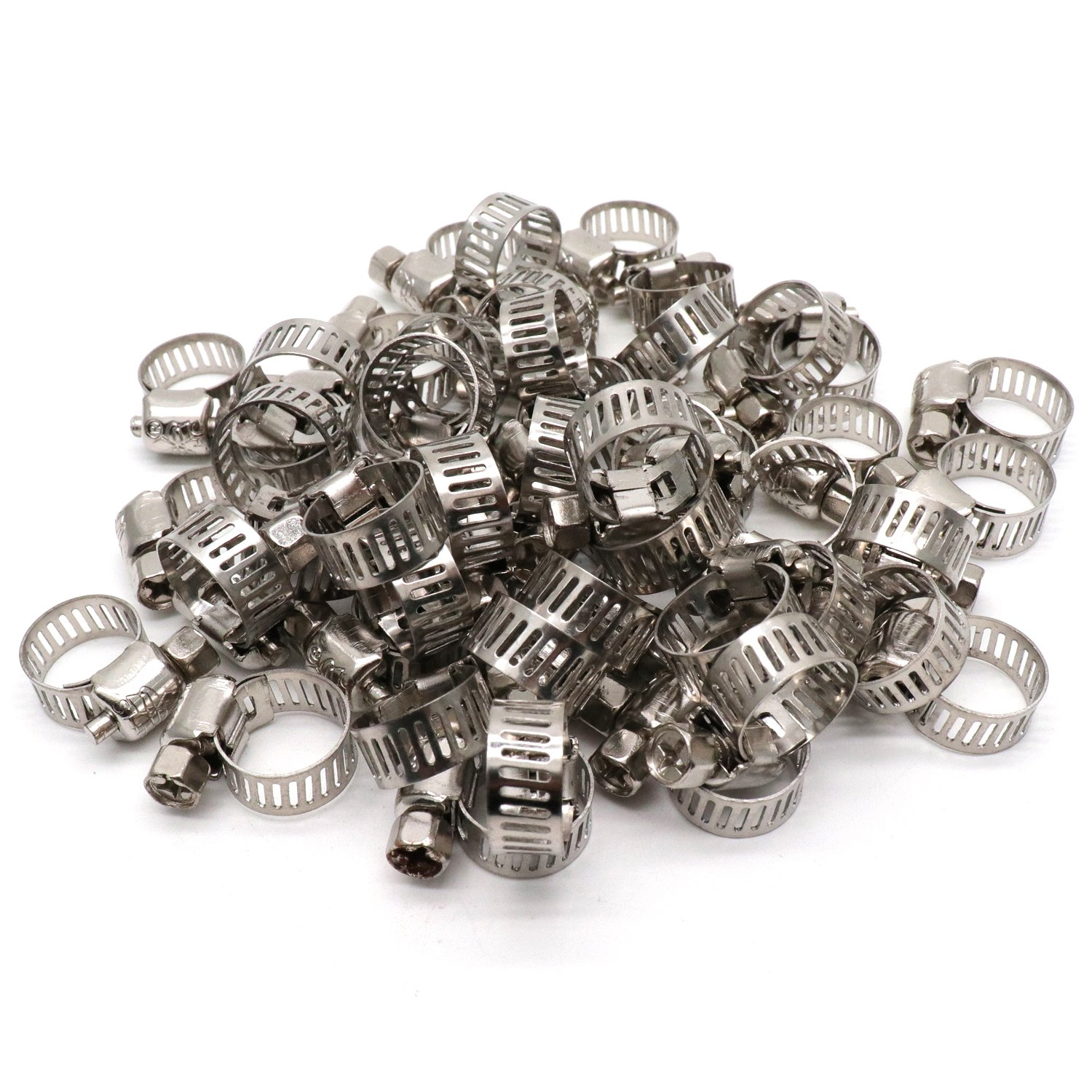 Yootop 50Pcs 0.24''-0.47'' Adjustable Range Worm Drive Hose Clamps Stainless Steel Pipe Clips