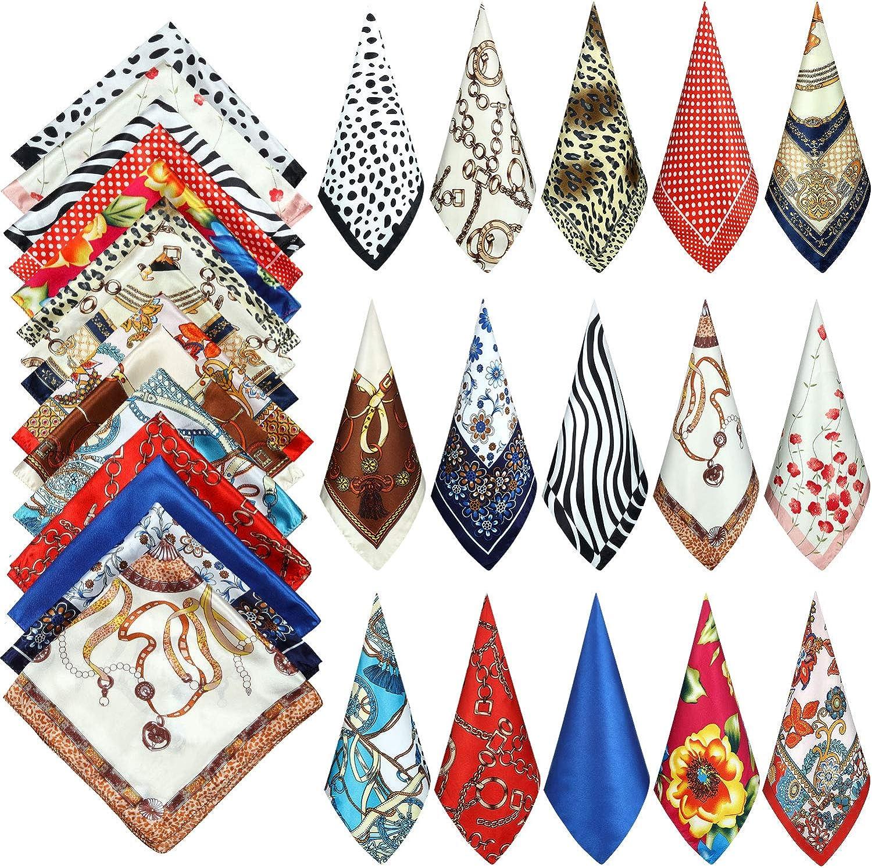 15 Pieces Women Square Neck Scarf Mixed Design Neckerchief Head Wraps Colorful Scarf Bandana