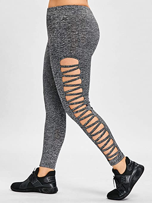 Image Unavailable. Image not available for. Color  DeemoShop Plus Size Lattice  Cut Out Leggings Casual Skinny Black High Waist ... af5688b2830