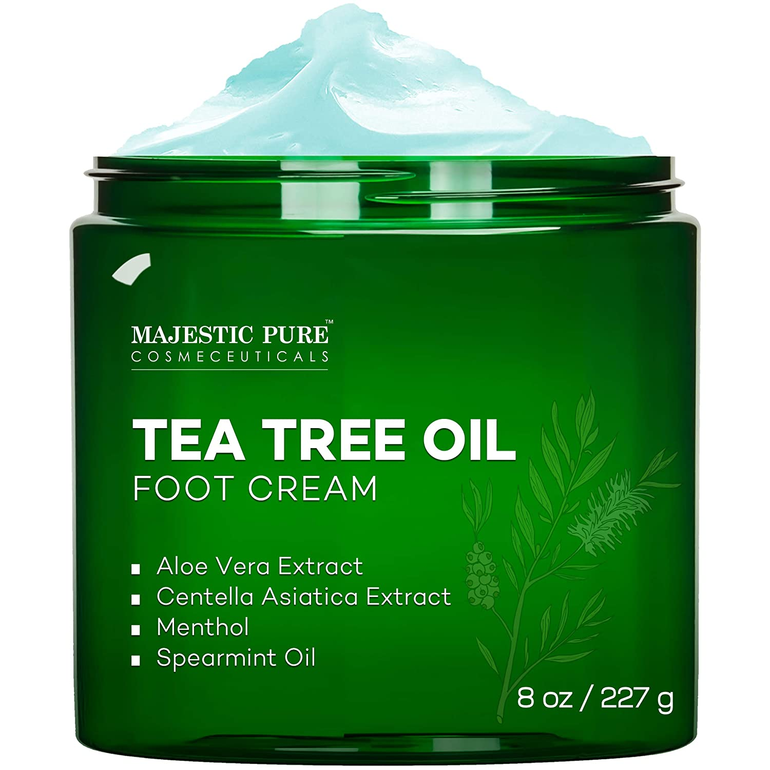 Majestic Pure Tea Tree Foot Cream -Fights Fungus, Softens and Conditions Dry Skin and Calluses, 8 oz