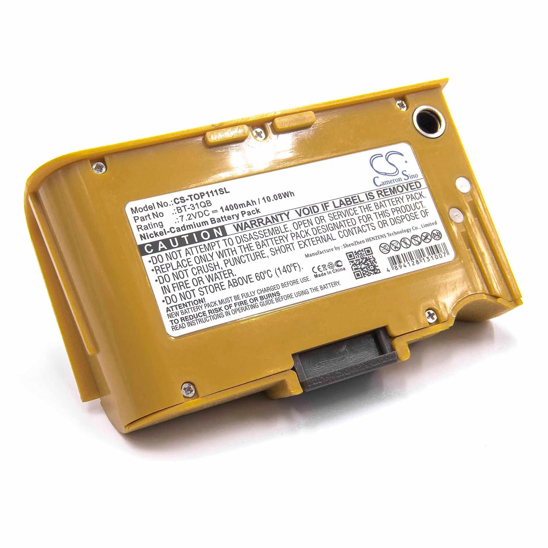 vhbw NiMH batería 1400mAh (7.2V) para medidor multímetro como Topcon BT-31QB