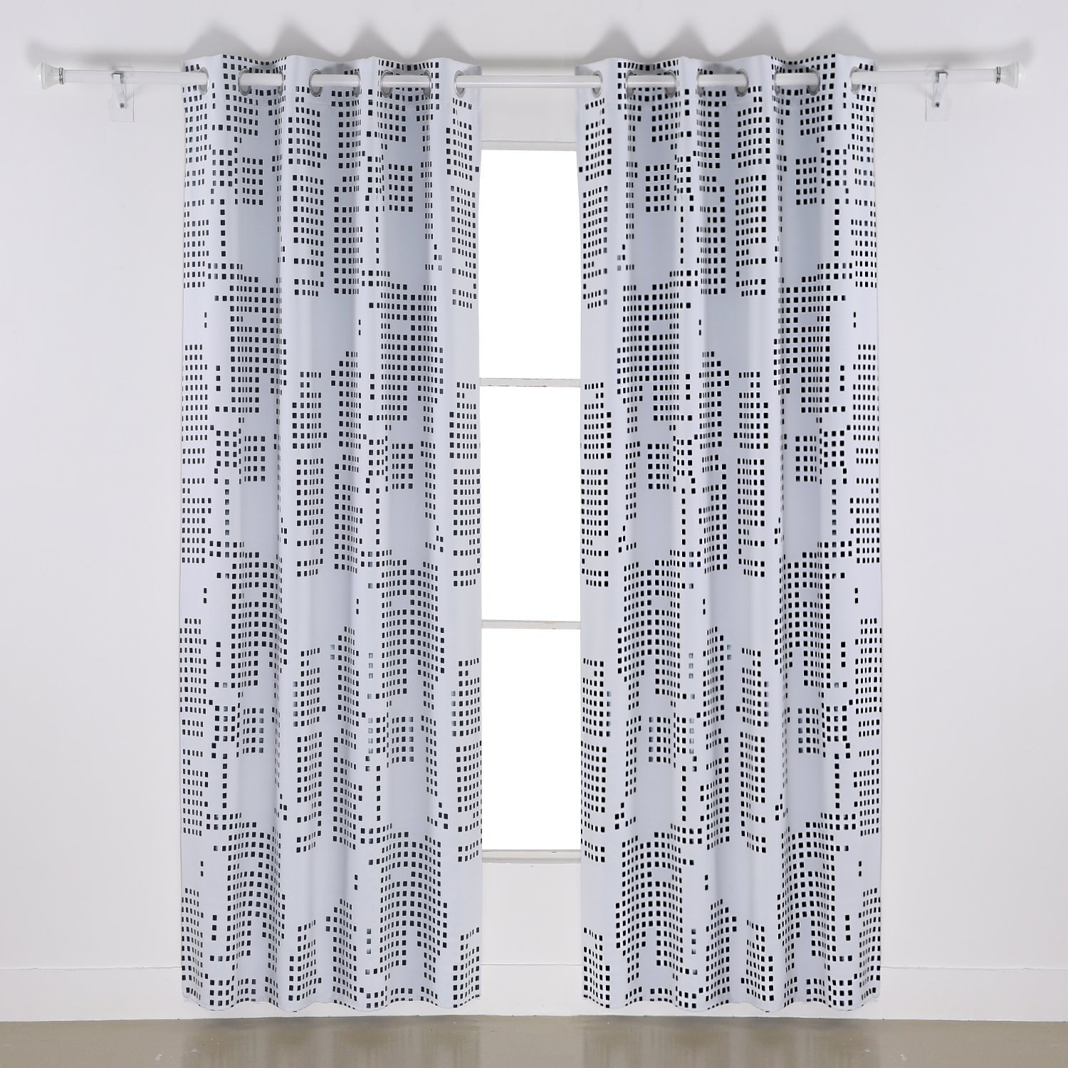 White Deconovo Fashion Square Black Dots Foil Printed Thermal Insulated Blackout Grommet Curtains