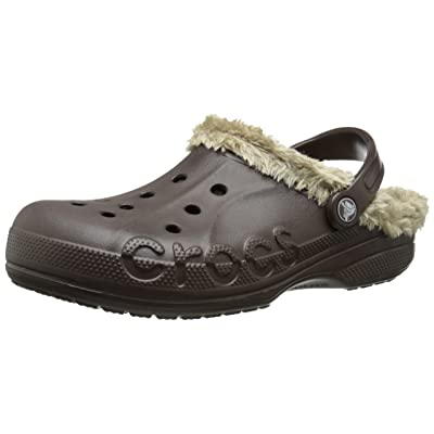 Amazon.com | crocs Unisex Baya Plush Lined Clog Mule, Espresso/Khaki, 12 B(M) Women/10 D(M) Men US | Mules & Clogs