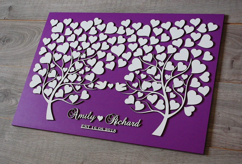 Bois Dense Multicolore 16 x 20 inch Littledollz Livre dor de Mariage en Bois Rustique Personnalisable en 3D