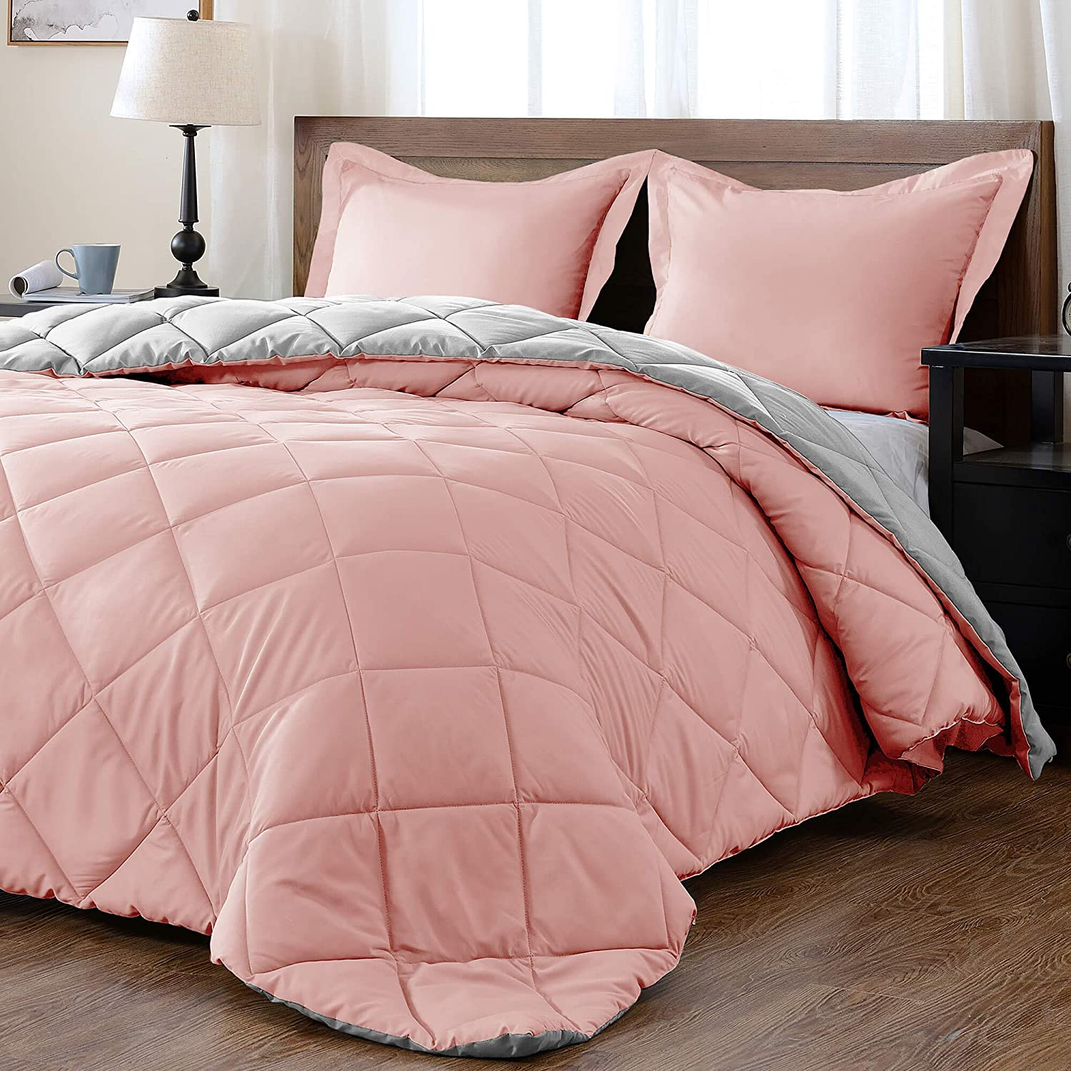 Solid Comforter Set (Queen) with 2 Pillow Shams - 3-Piece Set - Pink and Grey - Down Alternative Reversible Comforter