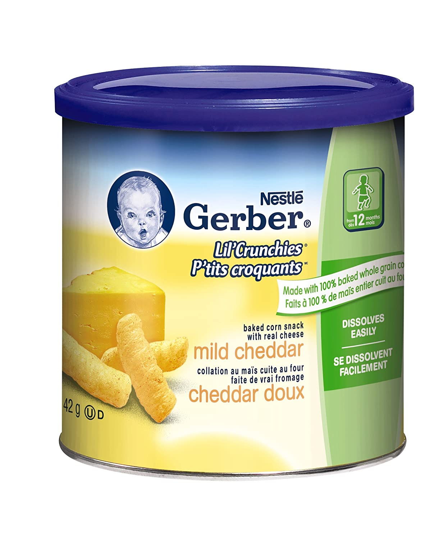 Gerber Cheddar, Corn Snack, 42g canister (6 pack)