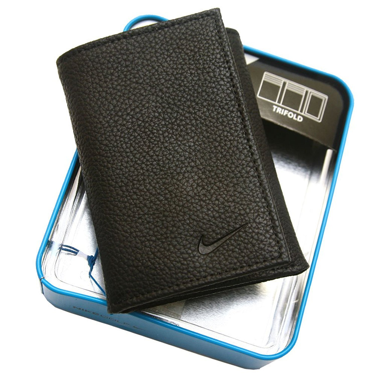 25b2d80de7 Amazon.com: Nike Golf Men's Genuine Leather Pebble Trifold Wallet, Black:  Sports & Outdoors